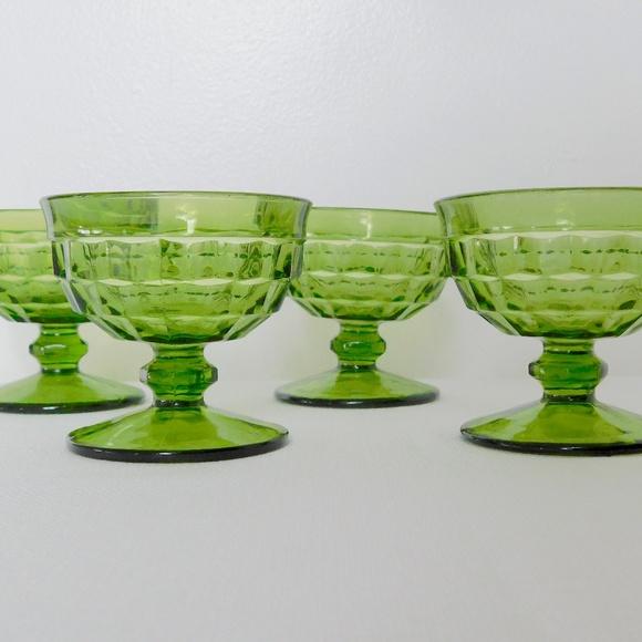 Vintage Other - Emerald Green Dessert Glasses- set of 4